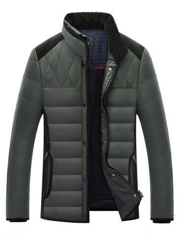 Outfits Stand Collar Corduroy Splicing Design Zip-Up Down Jacket BLACKISH GREEN 2XL