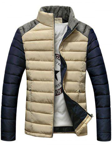 Discount Stand Collar Color Block Splicing Design Zip-Up Down Jacket APRICOT XL