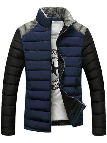 Chic Stand Collar Color Block Splicing Design Zip-Up Down Jacket - L CADETBLUE Mobile