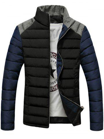 Buy Stand Collar Color Block Splicing Design Zip-Up Down Jacket BLACK L