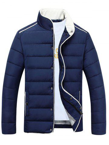 Fashion Stand Collar Edging Zip-Up Padded Jacket CADETBLUE M