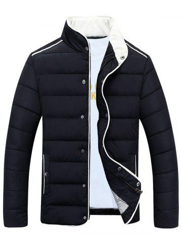 Discount Stand Collar Edging Zip-Up Padded Jacket - L BLACK Mobile