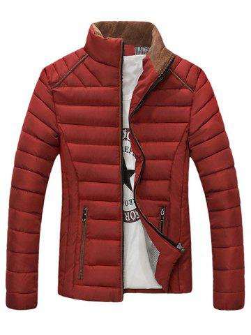 Sale Stand Collar Corduroy Spliced Zip-Up Down Jacket - L WINE RED Mobile