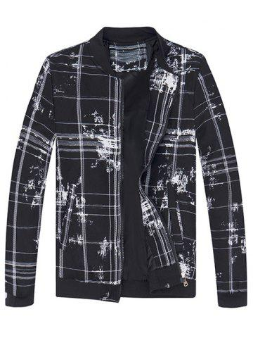 Splatter Paint and Checked Print Stand Collar Jacket