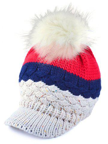 Outdoor Woolen Yarn Ball Color Block Knitted Beanie - OFF WHITE