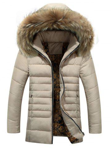 Furry Hood Zip Up Down Coat - Off-white - M