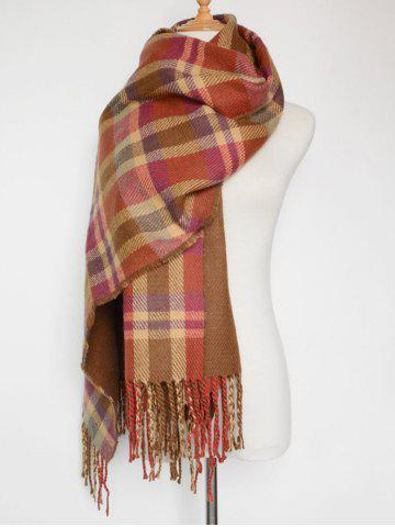 Unique Double Sided Fringe Plaid Scarf RED