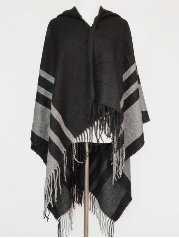 Discount Stripe Fringe Hooded Pashmina