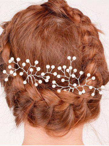 Online Faux Pearl Alloy Floral Hairpin - PEARL WHITE  Mobile