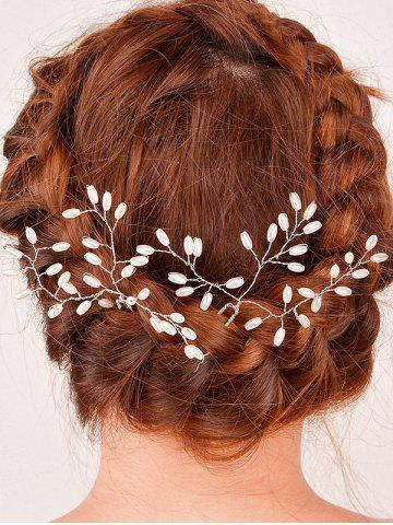 Latest Filigree Faux Pearl Leaf Hairpin - SILVER  Mobile