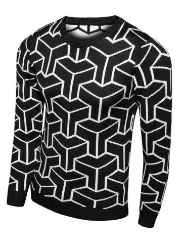 New Crew Neck Geometric Print Long Sleeve Sweater