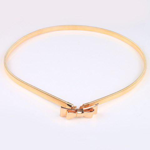 Affordable High Polished Double Bowknot Flat Belly Chain - GOLDEN  Mobile