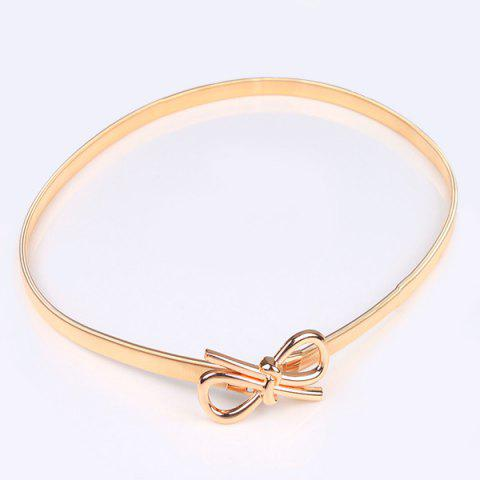 Fancy Filigree Polished Bowknot Flat Belly Chain - GOLDEN  Mobile