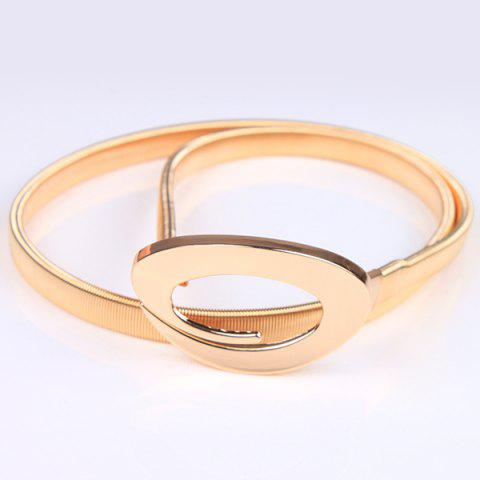 Store High Polished Curved Ring Flat Belly Chain GOLDEN