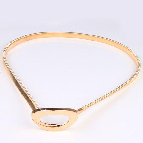 Unique High Polished Curved Ring Flat Belly Chain - GOLDEN  Mobile