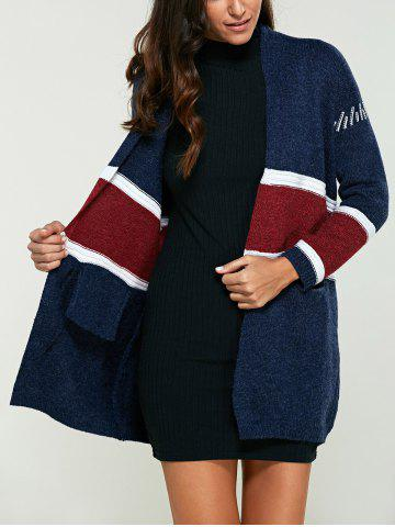 New Color Block Double Pockets Cardigan