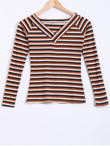 Unique Color Block Striped Knitwear COFFEE XL