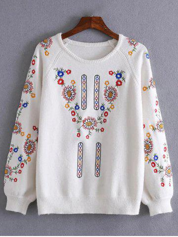 Affordable Floral Embroidery Pullover Sweater