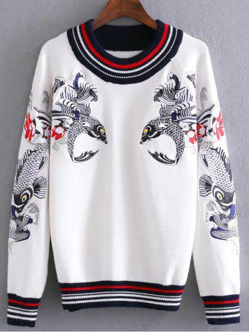Cheap Carp Embroidery Pullover Cable Sweater