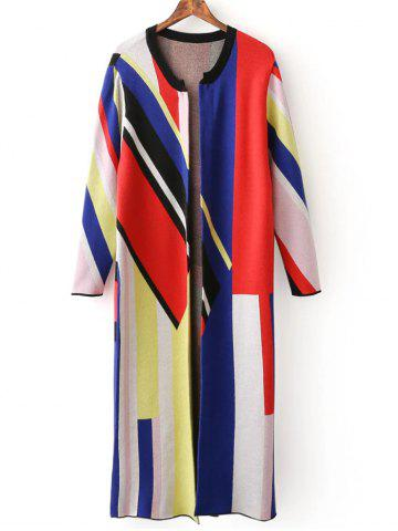 Outfit Colorblock Long Cardigan