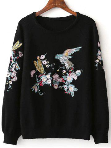 Chic Embroidery Pullover Sweater With Chinese Painting