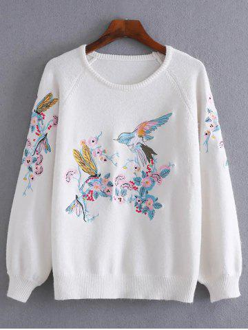 Discount Embroidery Pullover Sweater With Chinese Painting
