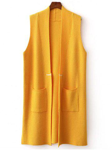 Affordable Double Pocket Long Knit Vest