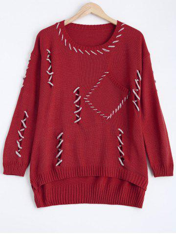 Discount Cut Out Pocket Pullover Sweater