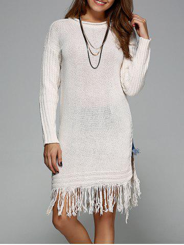 Outfit Split Fringed Pullover Sweater