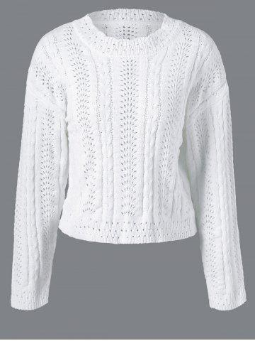 Latest Long Sleeve Pullover Cable Knitwear WHITE ONE SIZE