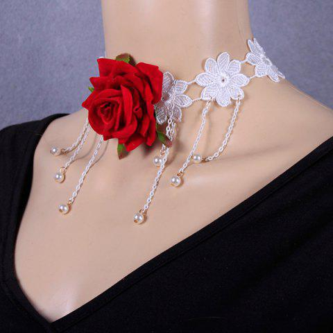 Fashion Openwork Tassel Crochet Flower Rose Necklace RED
