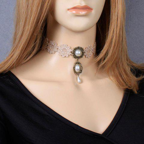 Cheap Carved Faux Pearl Crochet Lace Choker Necklace YELLOWISH PINK