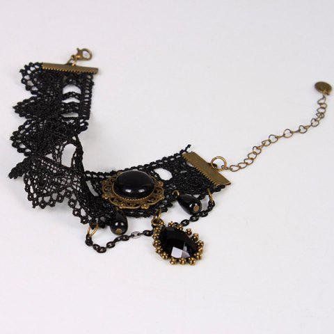 Discount Handmade Layered Crochet Lace Teardrop Anklet - BLACK  Mobile