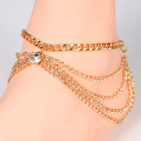 Unique Openwork Rhinestone Layered Leg Anklet - GOLDEN  Mobile