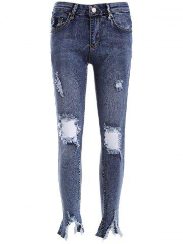 Fancy Ripped BF Ankle Pencil Jeans
