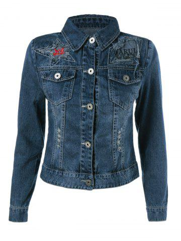 Unique Embroidery Star Denim Jacket