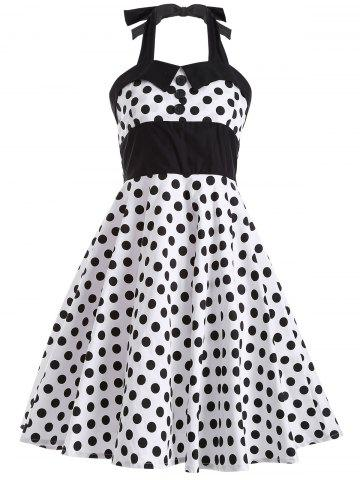 Shop Polka Dot Halter Retro Swing Fit and Flare Dress WHITE XL
