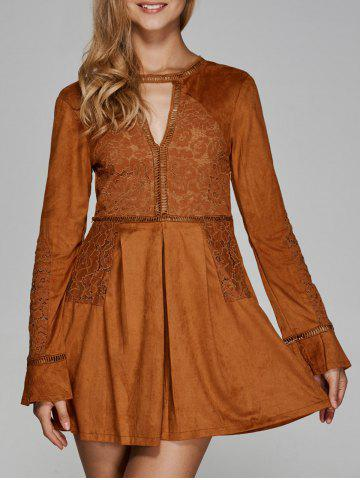 Online Long Sleeve Lace Cut Out Flare Dress