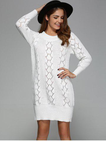 Argyle Openwork Tunic Knitted Long Sleeve Mini Dress - White - One Size