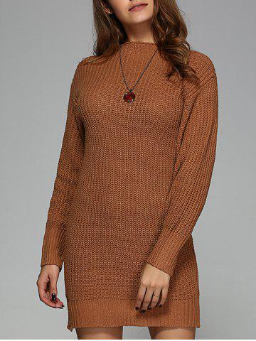 Chic Round Neck Knit Mini Dress