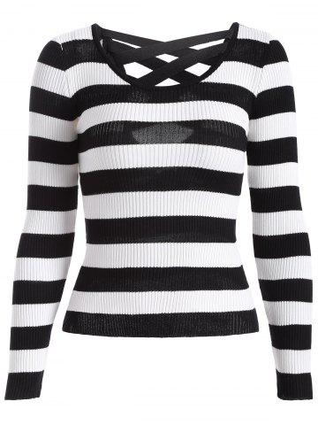 Unique Cut Out Striped Knitwear