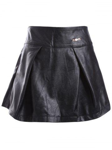 New PU Ruched A-Line Skirt
