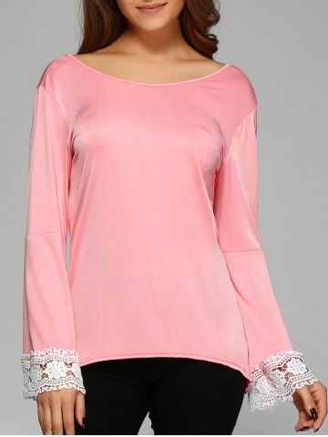 Affordable Cut Out Lace Spliced T-Shirt