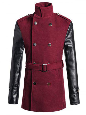 Online Stand Collar PU Spliced Wool Blend Trench Coat WINE RED 2XL