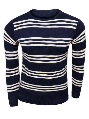 Unique Long Sleeves Striped Pullover Knitwear