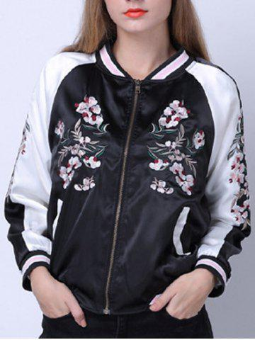 New Raglan Sleeves Zipped Embroidered Jacket