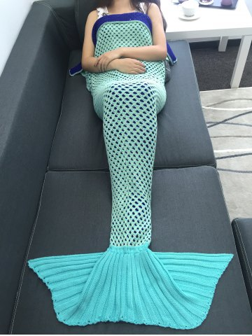 Super Soft Crochet Knitting Hollow Out Mermaid Blanket