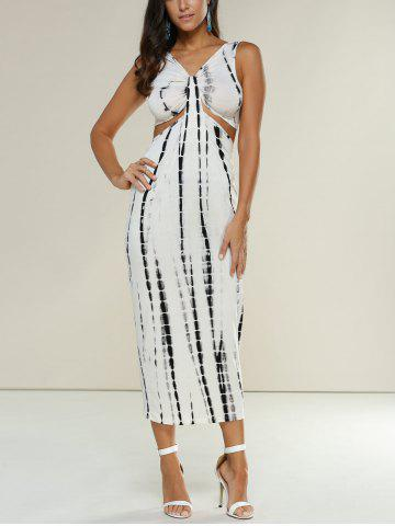 Midi Tie Dye Party Night Out Sleeveless Dress - Off-white - S