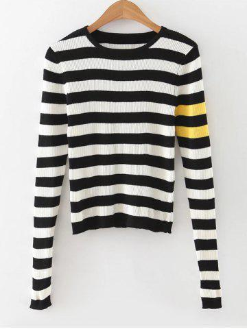 Fashion Slit Sleeves Striped Ribbed Pullover