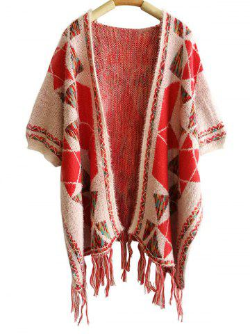 Online Winter Tassel Geometry Pattern Cape Pashmina